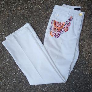 73c11caec064 Escada White Denim Embroidered Pants 36 6